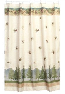 Pine Cone Lodge 5 Piece Bath Set Cabin Decor Shower Curtain Rug and More
