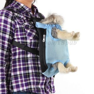 Blue Dog Pet Cat Carrier Backpack Bag Net Adjustable S