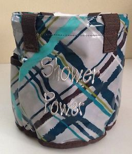 Thirty One 31 Round About Caddy Shower Tote Fall Catalog Sea Plaid Pattern New