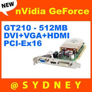 New HP NVIDIA GeForce GT210 512MB DVI VGA HDMI Graphic Video Card 533207 001