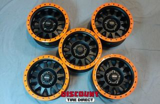 5 New 17x8 5 5x127 5 127 Jeep Wrangler Orange Matte Black Custom Wheels Rims