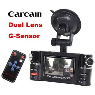 Dual Camera 720P Two Channels Car Video Audio Recorder DVR Motion Detect de F20
