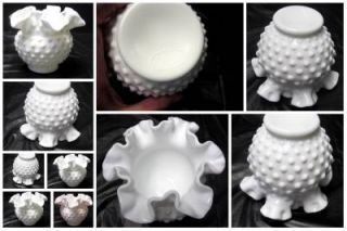 Lot of 4 Fenton Hobnail Milk Glass Scalloped Fluted Candy Nut
