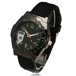 New Gorgeous Green Number Inlay Dial Quartz Wrist Watch Black Rubber Band Case