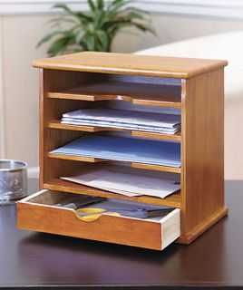 New Desk Mail Organizer 1 Drawer 4 Slot Natural Solid Wood Mini Shelf