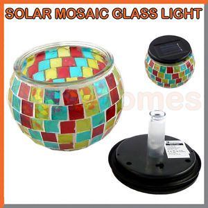 Solar Powered Mosaic LED Table Decoration Lantern Tea Light Garden Patio Outdoor