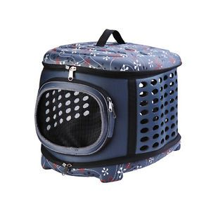 Pawhut Soft Sided Collapsible Pet Dog Cat Travel Crate Carrier Tote Bag Blue