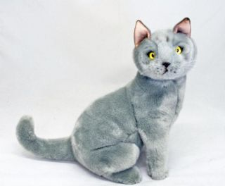"Cat Russian Blue Soft Toy Plush Toy Stuffed Animal Greyson 13"" 33cm New"