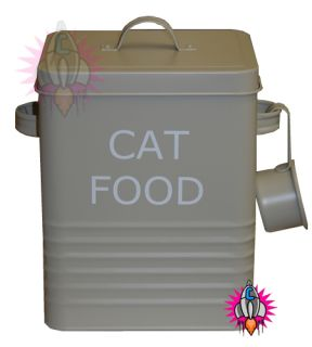 Vintage Retro Olive Green Large Cat Food Storage Container Tin New