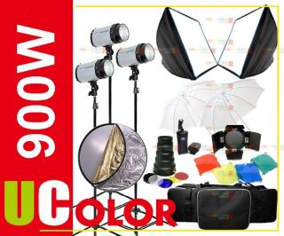 900W Strobe Studio Flash Lighting Kit Softbox Reflector Conical Snoot
