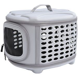 Pawhut Gray Soft Sided Collapsible Pet Dog Cat Travel Crate Carrier Tote Bag