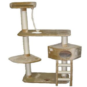"64"" Cat Tree House Toy Bed Scratcher Post Furniture F11"