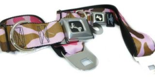 Camouflage Seat Belt Buckle Dog Collars Pink or Green 4 Sizes or Leash