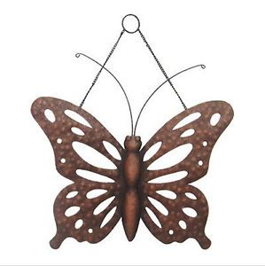 Bronze Butterfly Wall Hanging Indoor Outdoor Metal Art Decor