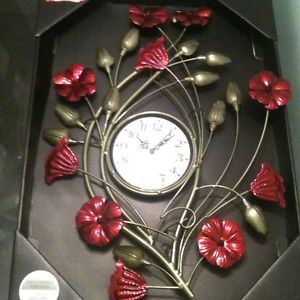 Large Poppy Metal Wall Clock Metal Wall Hanging Art New Exclusive Poppy Clock