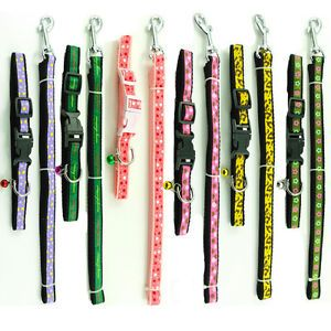 New Adjustable Nylon Dog Puppy Cat Collars Leash Set with Cute Printed and Bell