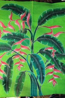 Balinese Tropical Helaconia Flower Batik Quilt Bali Wall Hanging Art Throw Twin