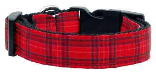Red Ribbon Plaid Nylon Dog Pet Puppy Adjustable Collar Leash Lead Harness