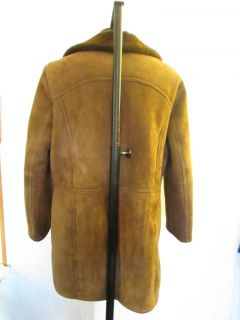 Mens Vtg Brown Shearling Sheepskin Fleece Leather Winter Coat Jacket Large 44""