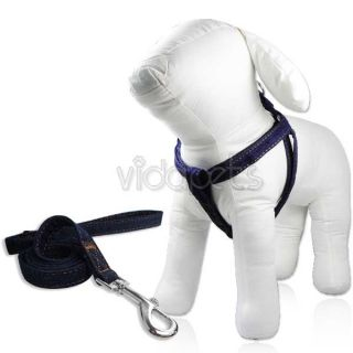 "20 30"" Girth Jeans Doggie Nylon Comfort Dog Harness Collar L Large 4 ft Leash"