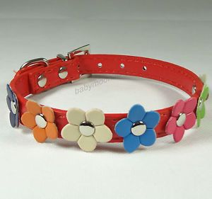 Flower Studded PU Leather Small Dog Cat Pet Collars Puppy Collars Red Size S