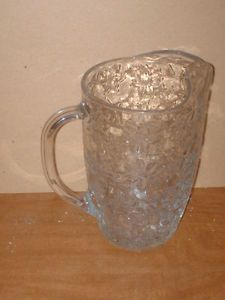Princess House Fantasia Pattern Crystal Glass Water Icetea Pitcher w Ice Lip