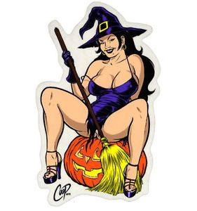 Coop Witch Sticker Gothic Rat Drag Race Halloween Sexy Pinup Hot Rod 4x4 Funny