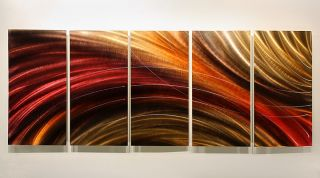 "Modern Abstract Jewel Toned Metal Wall Art Painting ""Cosmic Burn"" by Jon Allen"