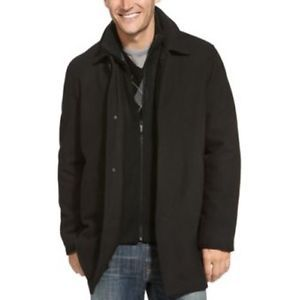 Kenneth Cole Reaction Men's Medium Wool Blend Black Double Collars Car Coat