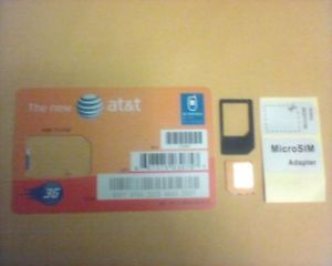 New at T Micro Sim Card with Free Micro Sim Adapter