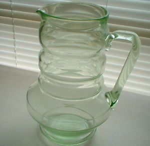"Vintage Dunbar Depression Large Vaseline Uranium Glass Water Pitcher 9 5"" High"