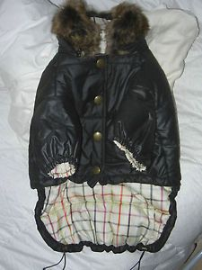 Coach LG Black Puffer Dog Coat Jacket w Shearling Detachable Collar 60343
