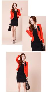Fashion New Womens Flower Slim Casual Double Breasted Suit Blazer Coat Jacket