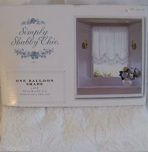 "Simply Shabby Chic One Balloon Shade White Lace Window Panel 60"" x 63"""