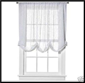 Simply Shabby Chic White Lace Balloon Window Shade 60 x 63 Curtain Panel New