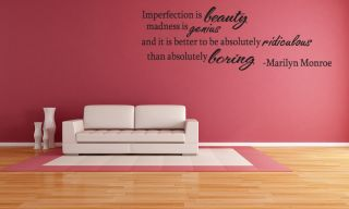 Marilyn Monroe Imperfection Wall Decal Decor Vinyl Quote Lettering Saying 28""