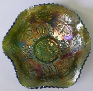 Vintage Fenton Green Carnival Glass Footed Bowl Water Lily Pattern DB14