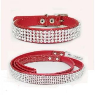 Rhinestone Crystal Jeweled PU Leather Pet Cat Dog Collar Leash Set White