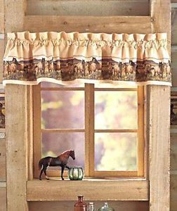 "Mustang Horses Lodge 72"" Window Valance Nancy Glazier"
