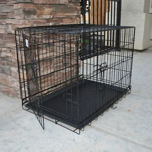 "Brand New Black 48"" Extra Large Metal Dog Crate Cage with ABS Plastic Tray"