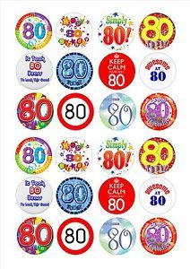 24 Icing Cake Toppers Decorations 80th Birthday Male Version Edible