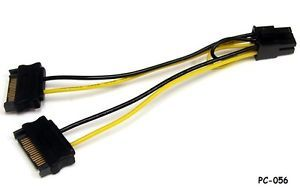 6in SATA 15 Pin Power to 6 Pin PCI Express Video Card Power Cable Adapter PC 056