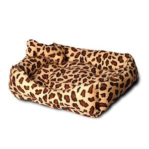 100 Cotton Leopard Print Handmade Dog Cat House Bed