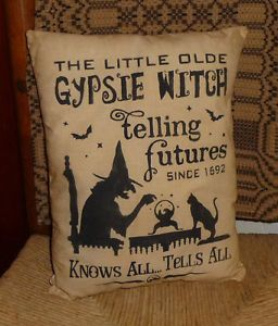 Gypsie Witch Prim Country Primitive Halloween Black Cat Fall Pet Pillow Decor