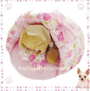 Sweet Rose Shell 100 Cotton Pets Puppy Dogs Cat Beds House Sleeping Bag Bow New