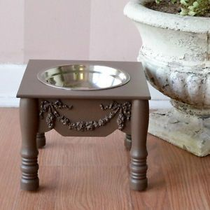 "Shabby Cottage Chic Single Bowl Pet Raised Feeder Chocolate Brown 7"" Dog Cat"