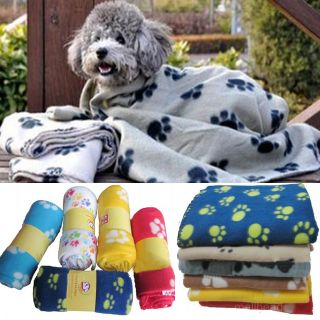 Paw Print Dog Cat Pet Puppy Fleece Blanket Warm Bed Soft Mat Car Seat Cover Beig