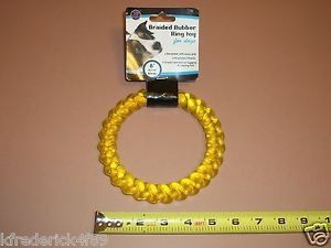 "6"" Yellow Braided Round Hard Rubber Dog Puppy Fetch Play Chew Toy Kong Altrrntv"