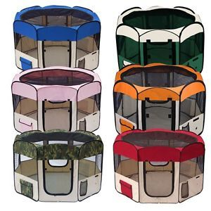 "New 57"" x Large Pet Puppy Dog Playpen Portable Kennel Choose Color"