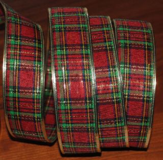 Wired Ribbon Red Christmas Plaid Green Gold Tartan Wreath Holiday Gift Craft Bow